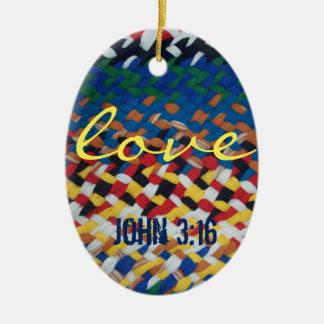 amor, 3:16 de John sobre o weave de pano Ornamento De Cerâmica