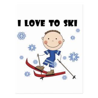 Amor ao esqui - camiseta e presentes do menino cartão postal