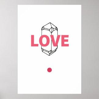 Amor - arte abstrata de Crytal Pôster