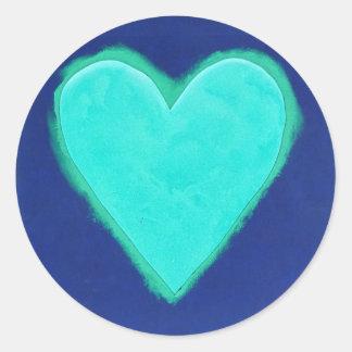 Amor azul do coração adesivo