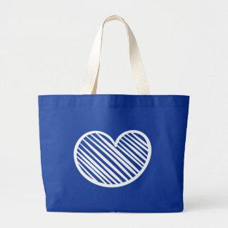 Amor azul do coração branco do Scribble - Bolsa Tote Grande