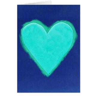 Amor azul do coração cartão comemorativo