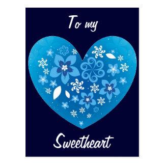 Amor azul do coração cartão postal