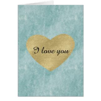 Amor azul do coração do ouro da felicidade cartão comemorativo