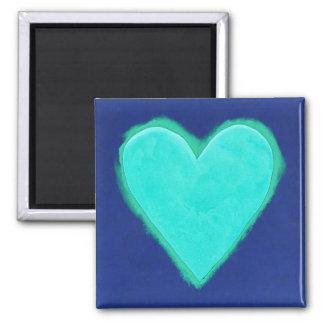 Amor azul do coração ímã quadrado