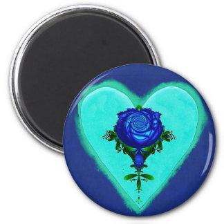 Amor azul do coração ímã redondo 5.08cm