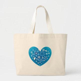 Amor azul do coração bolsas