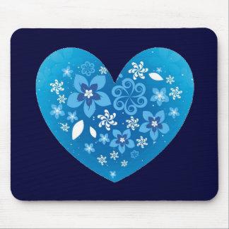 Amor azul do coração mousepads