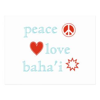 Amor Bahai da paz Cartão Postal