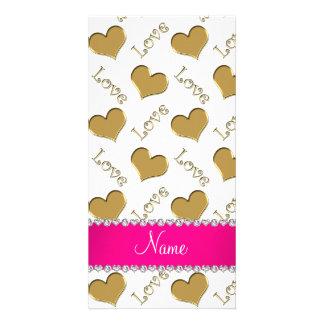 Amor branco personalizado dos corações do ouro cartao com fotos