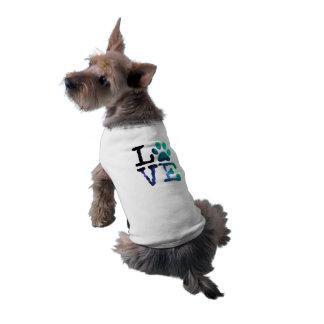 Amor, casaco do impressão da pata do cão ou camiseta