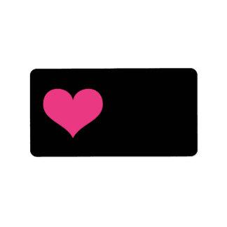 Amor, casamento ou dia dos namorados do coração do etiqueta de endereço