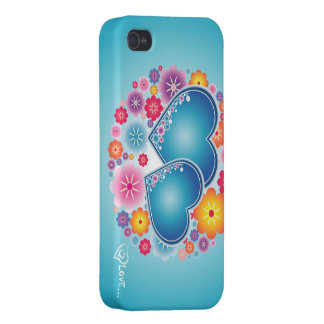 amor colorido com corações e flores iPhone 4 capas