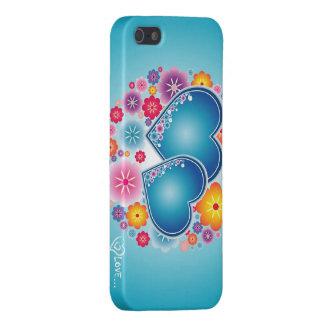 amor colorido com corações e flores iPhone 5 capas