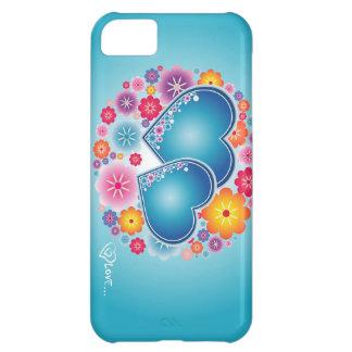 amor colorido com corações e flores capa iphone 5C