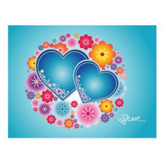 amor colorido com corações e flores cartão postal