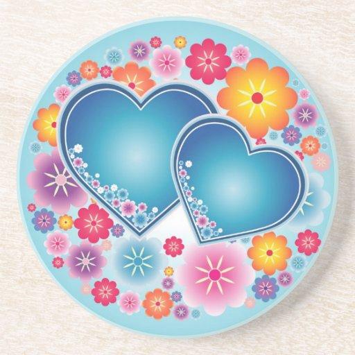 amor colorido com corações e flores porta copos