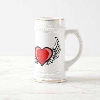 amor com asas caneca de cerveja