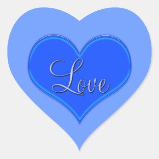 Amor com coração azul no fundo azul adesivo coração