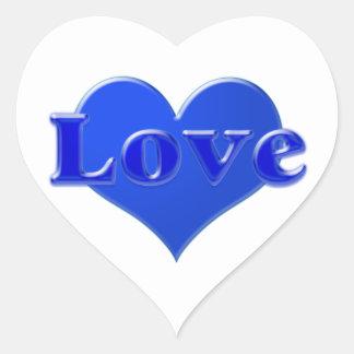 Amor com coração azul no fundo branco adesivo coração