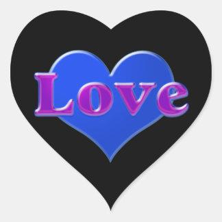 Amor com coração azul no fundo preto adesivo coração