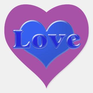Amor com coração azul no fundo roxo adesivo coração