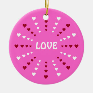Amor cor-de-rosa bonito & corações customizáveis ornamento de cerâmica redondo