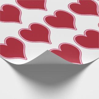 Amor cor-de-rosa vermelho dos corações do dia dos papel de presente