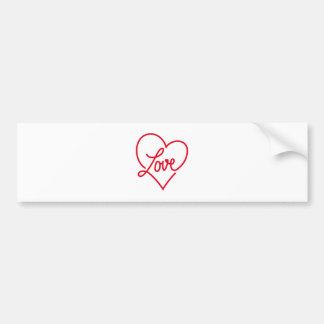 Amor, coração vermelho para o dia dos namorados adesivo para carro