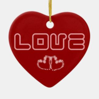 Amor & corações - lembrança do dia dos namorados ornamento de cerâmica coração