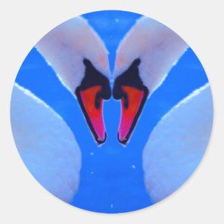 Amor da cisne, coração romântico pescoços dados adesivo