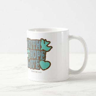 amor da esperança da fé caneca de café