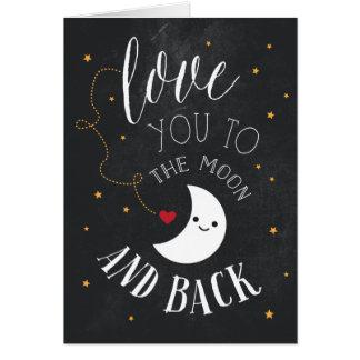 Amor da lua cartão comemorativo