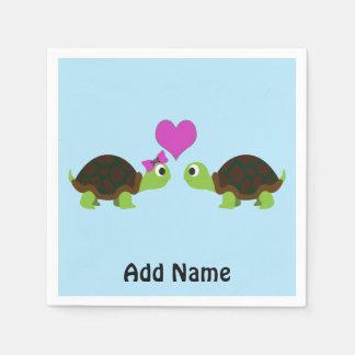 Amor da tartaruga guardanapo de papel
