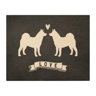 Amor de Akitas - silhuetas do cão com coração