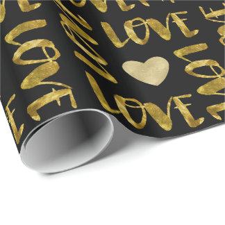Amor de Bling do ouro Papel De Presente