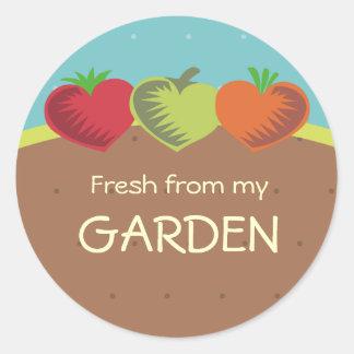 amor de jardinagem de jantar saudável dos vegetais adesivos redondos
