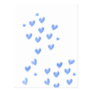 AMOR - design azul dos corações do watercolour Cartão Postal