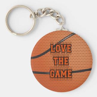 Amor do basquetebol o jogo chaveiro