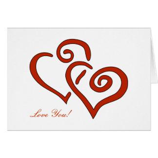 Amor do cartão do dia dos namorados de 2 corações