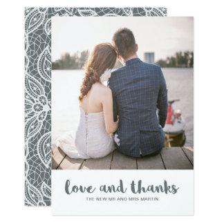 Amor do casamento do laço e foto dos obrigados convite 12.7 x 17.78cm