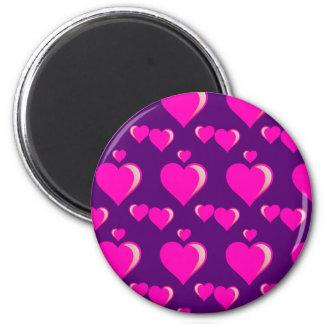 Amor do dia dos namorados dos corações cor-de-rosa ímã redondo 5.08cm