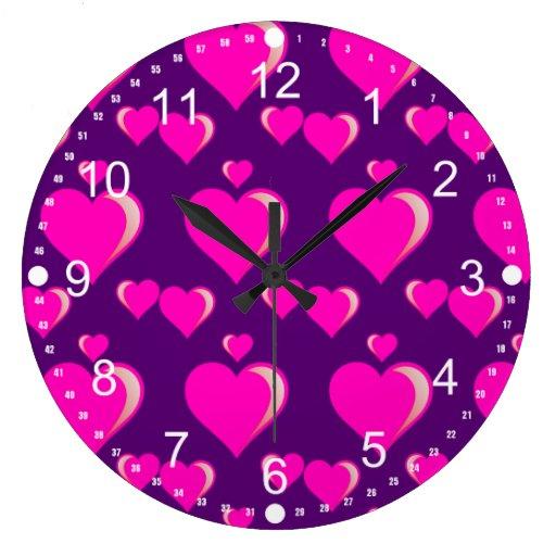 Amor do dia dos namorados dos corações cor-de-rosa relógio de parede