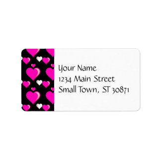 Amor do dia dos namorados dos corações do rosa etiqueta de endereço