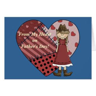 Amor do dia dos pais de meu coração da vaqueira - cartão comemorativo