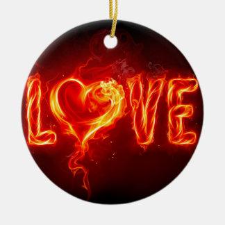 amor do fogo ornamento de cerâmica redondo