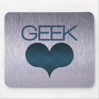 Amor do geek (coração) Mousepad, azul escuro