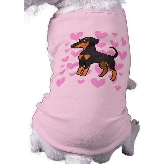 Amor do Pinscher do Doberman (orelhas flexíveis) Camisa Sem Mangas Para Cachorro