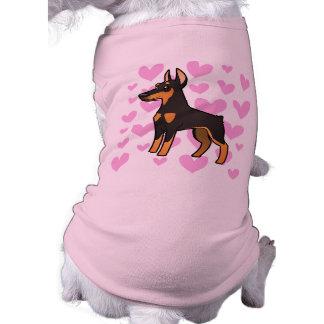Amor do Pinscher do Doberman (orelhas pointy) Camisa Sem Mangas Para Cachorro