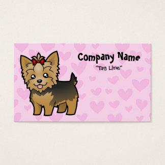 Amor do yorkshire terrier (cabelo curto com arco) cartão de visitas
